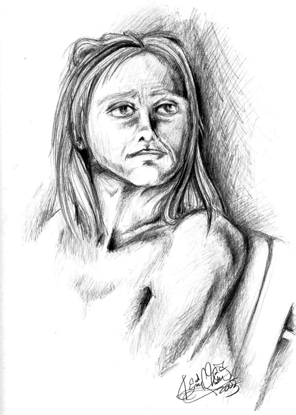 Female model from class. This was a value study.