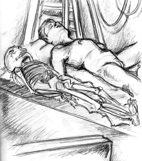 Drawing of a male model and a skeleton from life drawing class. Warning: Nudity.