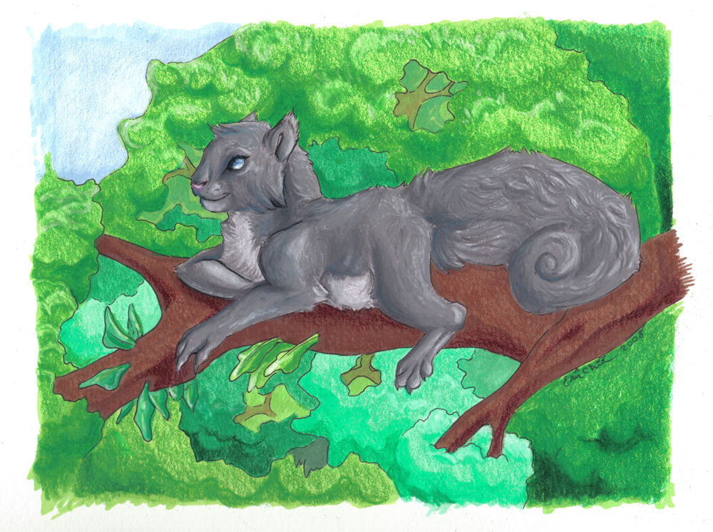 SQUIRREL. Prismacolour markers/pencil overlay.