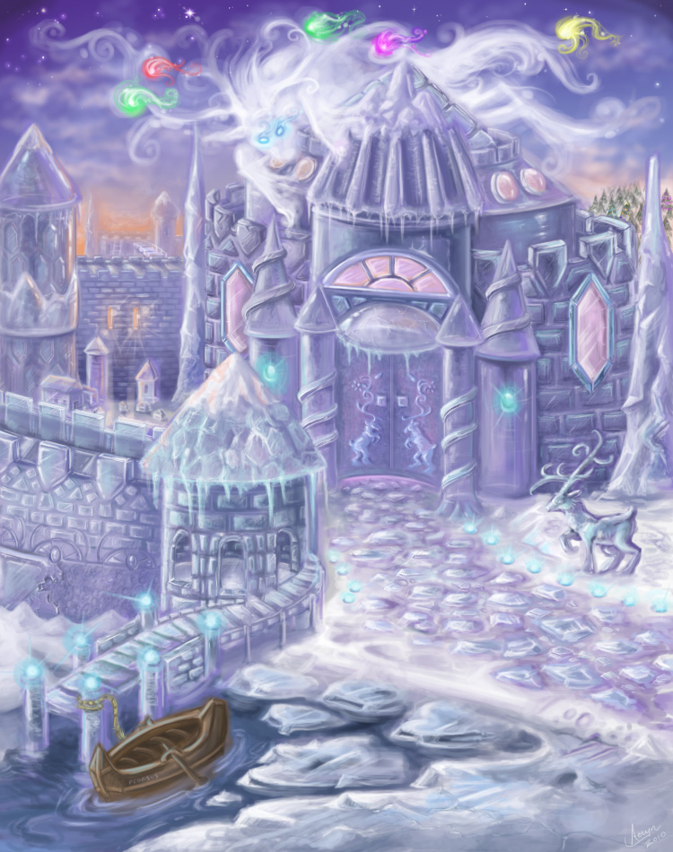 The Vilinori Ice Castle - drawn for a contest on PI. I haven't worked with ice in awhile... It's one of the more fun subjects for drawing.