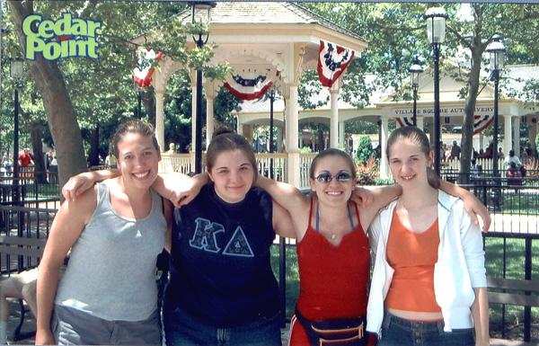 Kimmy, me, Elaine, and Heather at Cedar Point!
