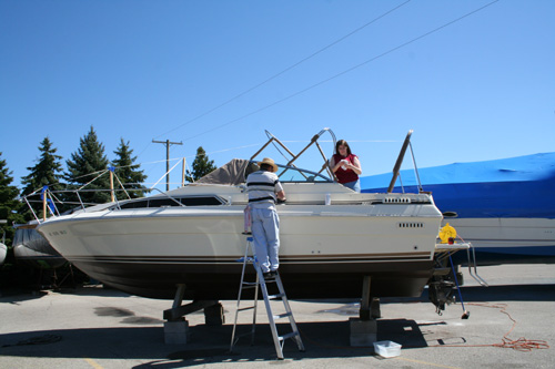 Me and dad washing the boat.