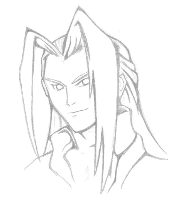 I copied Tetsuya Nomura's Sephiroth from Ehrgeiz. It was such a beautiful piccie. ^^ Mmm. Sephi. :)