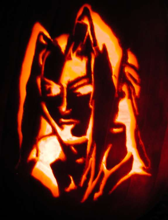 Haha! Sephiroth, carved onto a pumpkin! :D Now, he will be immortalized forever!!! Or something. o.O Uhh... J-E-N-O-V-A told me to do it.