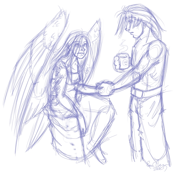 Tiny!Claire with wings and Riku~