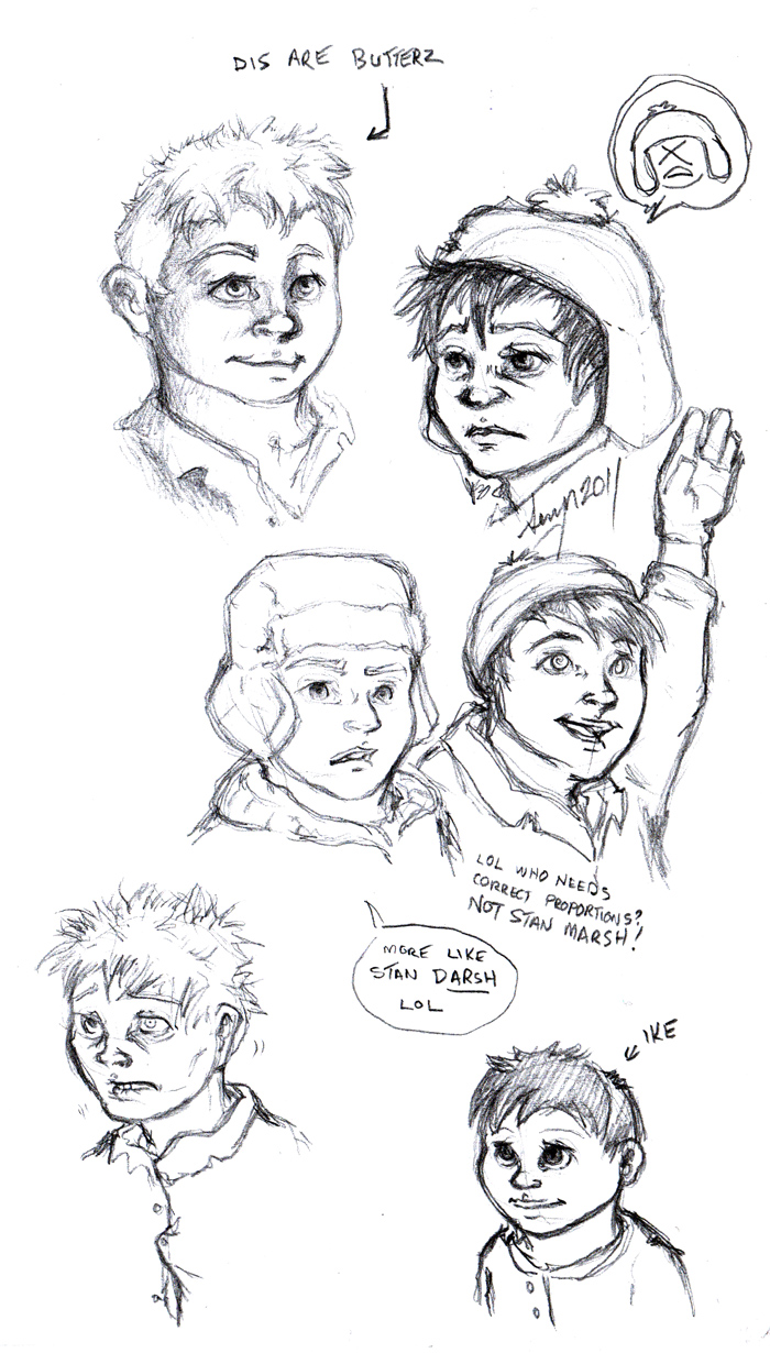 More realistic drawings of some of the South Park characters.