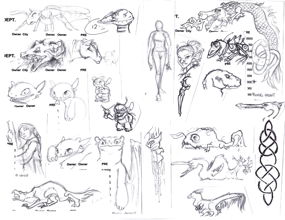 I had this huge list that I had to work on and I'd draw little things in the margins. Here's a collection.