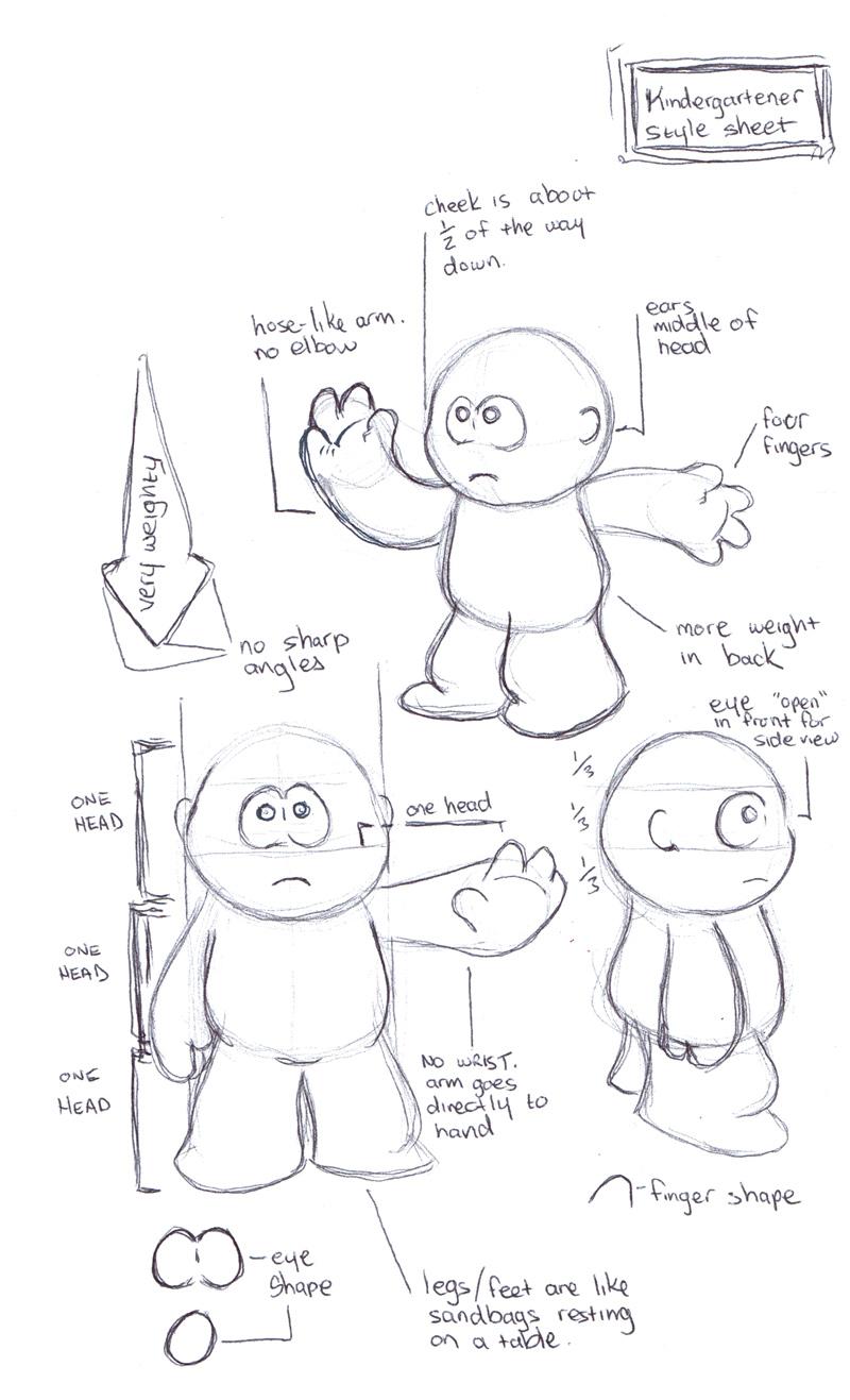 Kindergartener character design.