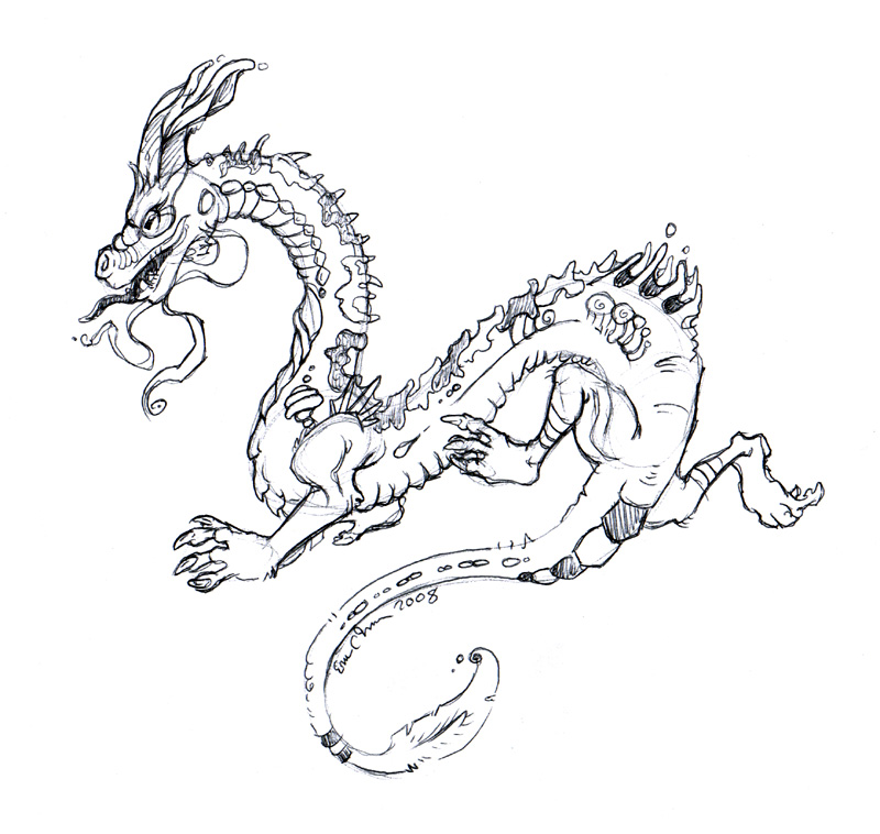 Chinese dragon. Drawn at work.