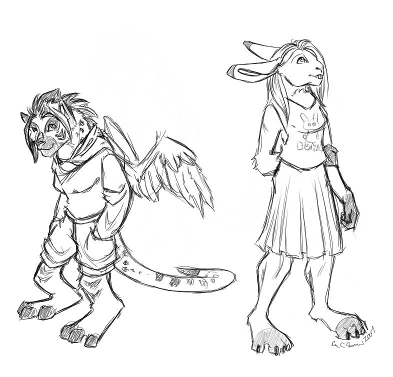 A meerkat-hyena and a bunny. :|