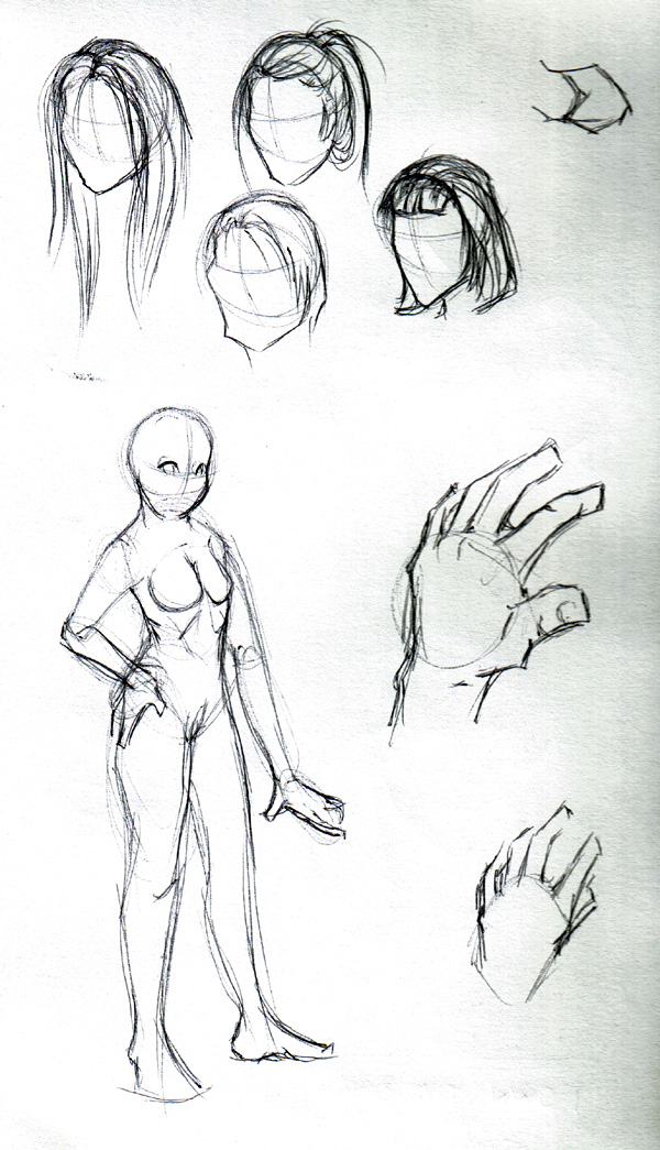Hairstyles, and an anatomy drawing of a woman.