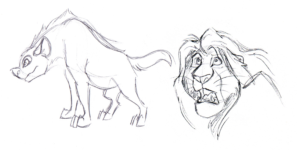 A hyena and drawing of Mufasa, both from The Lion King. Mufasa was drawn from a paused still.