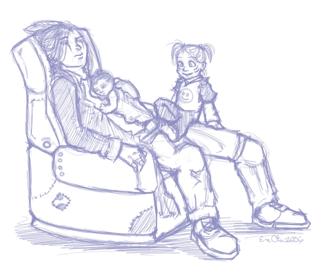After re-watching some series 1 episodes, I got this picture in my head of Lex babysitting Bray and Brady. XD