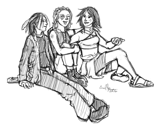 Lex, Amber, and Tai-San acting like kids for once.