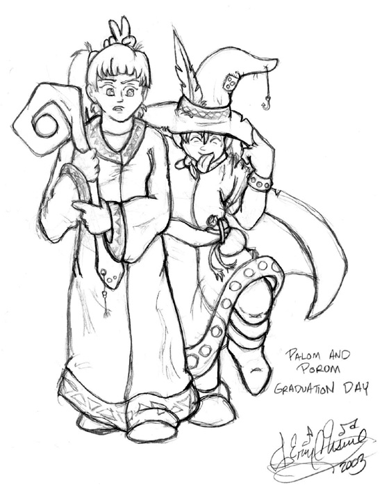 Sketch of Palom and Porom from Final Fantasy IV. I think I'm gonna color this one, which is why there's no shading. ^_^