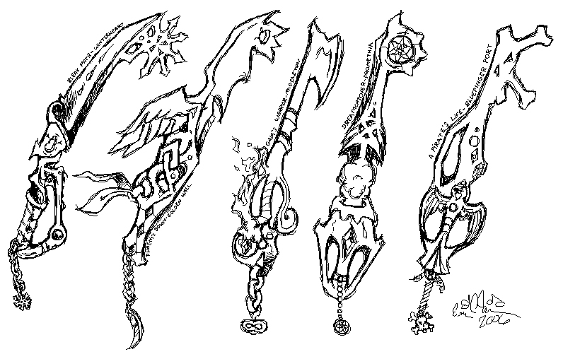 Some keyblades I designed for Ineffable Game.